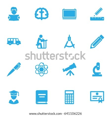 Set 16 Education Icons Set Collection Textbook Stock Vector