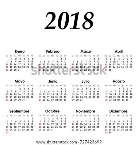 When Was The Modern Calendar Create In Spanish Create Printable Photo Calendar Vector Simple Calendar 2018 On Spanish Stock Vector