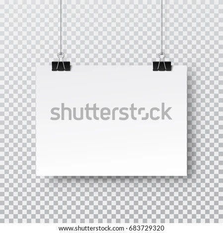 Canvas Blank Poster Hanging On Binder Stock Vector (Royalty Free