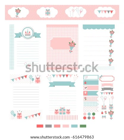 Template Notebook Paper Diary Scrapbook Card Stock Vector (2018 - Notebook Paper Template