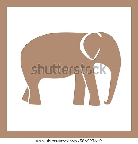 Elephant Pattern On Square Sheet Template Stock Photo (Photo, Vector - elephant cut out template