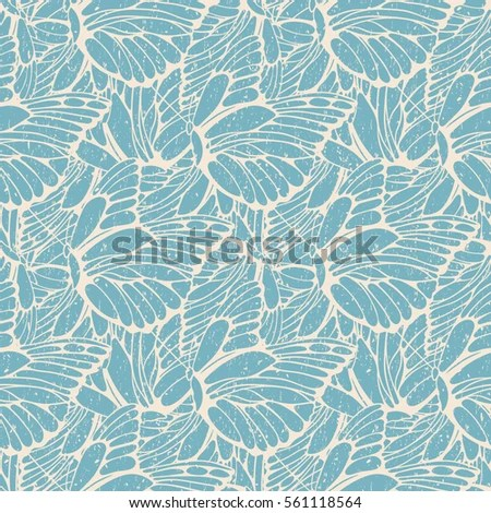Cherry Blossoms Falling Stylized Wallpaper Vector Illustration Leaves Palm Tree Seamless Stock Vector