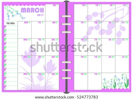 Calendar Daily Planner Template Monthly March Stock Photo (Photo - calendar daily planner