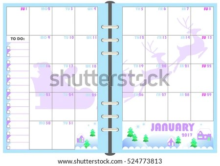 Calendar Daily Planner Template Monthly January Stock Photo (Photo - planner format