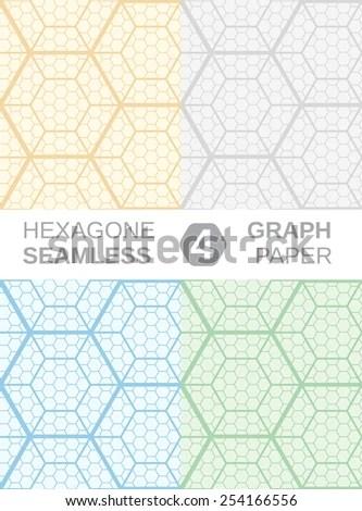 Hexagon Graph Paper Set 4 Seamless Stock Photo (Photo, Vector