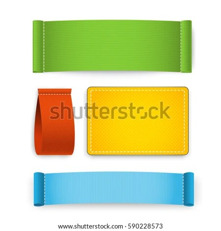 Colorful Clothing Label Set Isolated On Stock Vector 590228573 - label