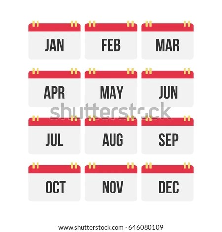 Flat Design Calendar Month Icon Set Stock Vector (Royalty Free