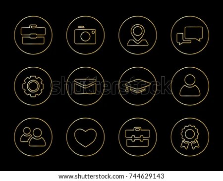 Collection Vector Icons Personal Branding Curriculum Stock Vector