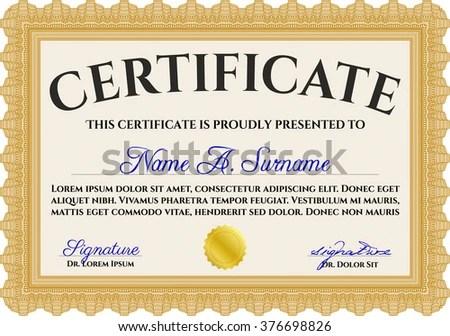Orange Certificate Achievement Template Money Design Stock Vector