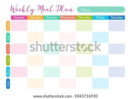 Healthy Diet Planning Weekly Meal Plan Stock Vector 1043716930 - healthy weekly meal plans