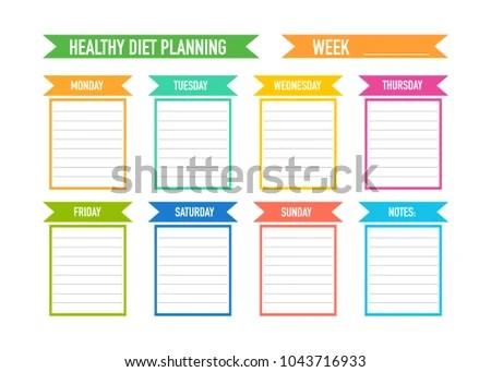 Healthy Diet Planning Weekly Meal Plan Stock Vector 1043716933 - healthy weekly meal plans