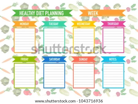 Healthy Diet Planning Weekly Meal Plan Stock Vector HD (Royalty Free - healthy weekly meal plans