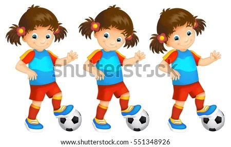 Cartoon Child Girl Playing Football Activity Stock Illustration - cartoon children play