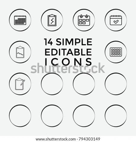 Set 14 Agenda Outline Icons Such Stock Vector 794303149 - Shutterstock