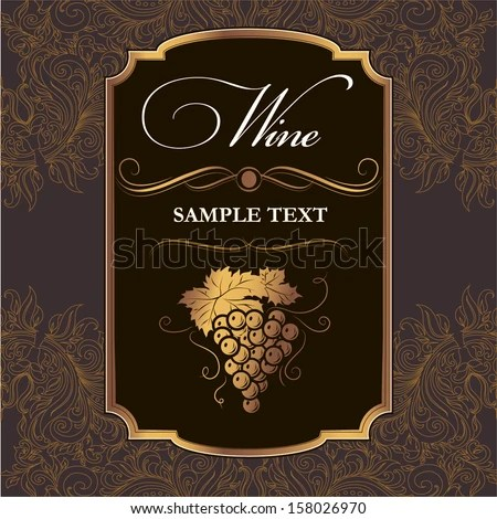 Wine Label Grapes On Black Paper Stock Vector HD (Royalty Free