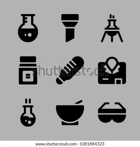 Icons Chemistry Safety Glasses Experiment Funnel Stock Vector (2018 - chemistry safety