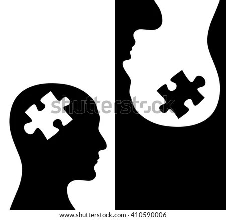 Contrast Concept Two Humans Profiles White Stock Illustration