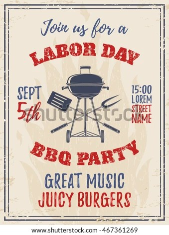 Vintage Labor Day BBQ Party Background Stock Vector 467361269 - labour day flyer template