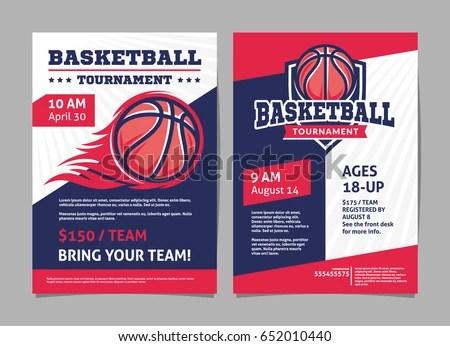 Basketball Tournament Posters Flyer Basketball Ball Stock Vector - basketball flyer example