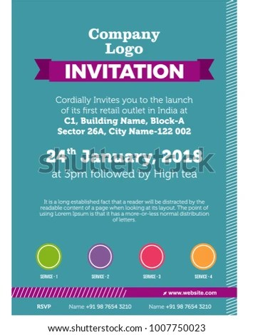 Invitation Card Template Office Corporate Get Stock Vector - invitation for a get together