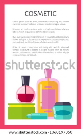 Cosmetic Products Vertical Advertisement Banner Sample Stock Vector