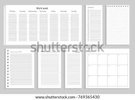 Set Notes Work Week Checklist Sheets Stock Vector 769365430
