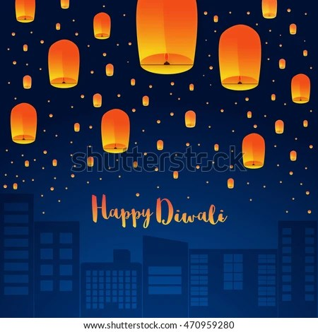 Happy Diwali Holiday Background Sky Lanterns Stock Vector (Royalty
