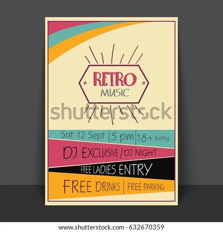 Retro Music Party Celebration Flyer Template Stock Vector 632670359 - retro flyer template