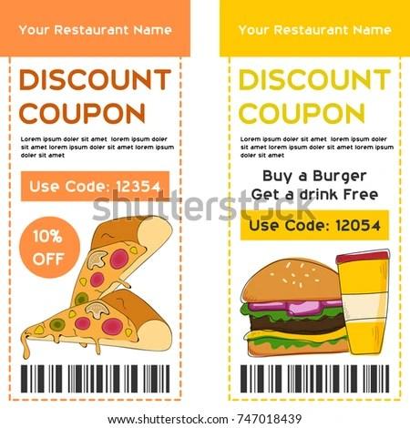Discount Voucher Template Food Drink Concept Stock Vector (2018 - food voucher template