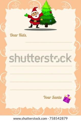 Christmas Wishlist Letter Santa Template Happy Stock Vector - christmas wishlist template