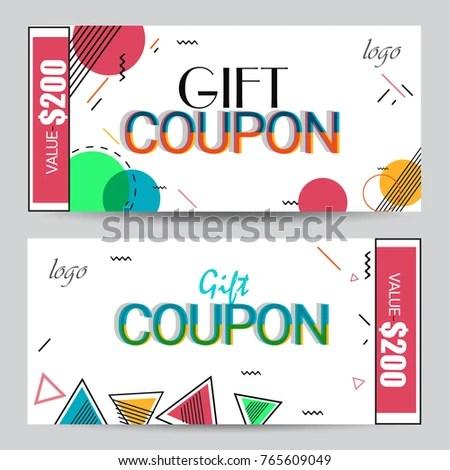 Creative Discount Voucher Gift Card Coupon Stock Vector 765609049 - gift coupon template