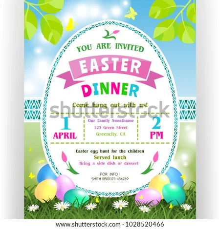 Easter Dinner Announcing Poster Template Text Stock Vector - easter invitations template