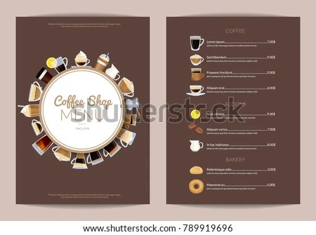 Vector Coffee Shop Vertical Menu Template Stock Vector HD (Royalty - Cafe Menu Template