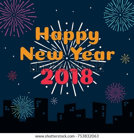 Happy New Year 2018 Card Template Stock Vector 753832063 - Shutterstock