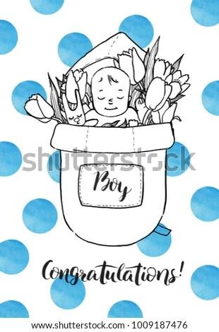 Newborn Baby Boy Flowers Congratulations New Stock Illustration