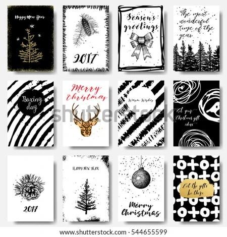 Modern Classic Creative Christmas Cards Black Stock Vector 544655599 - christmas cards black and white