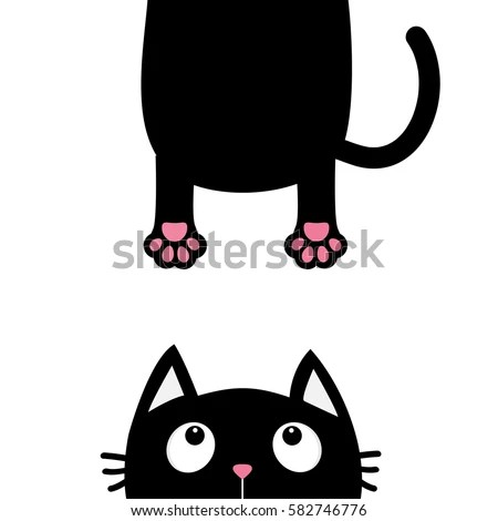 Cute Paw Print Wallpaper Black Cat Looking Up Funny Face Stock Vector 582746776