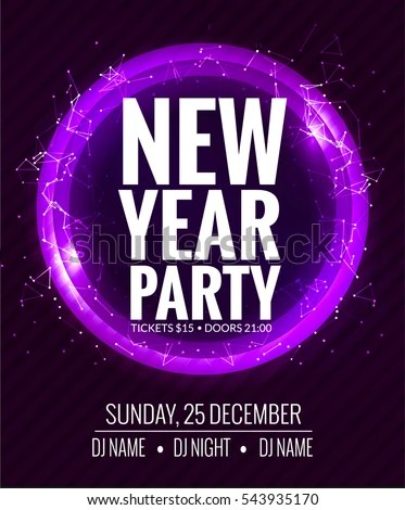 New Year Party Christmas Party Poster Stock Vector 543935170 - new year poster template
