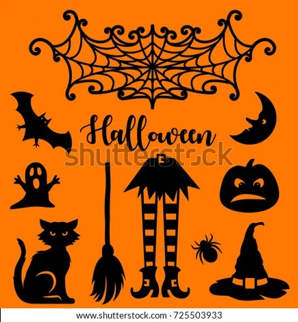 Halloween Silhouettes Your Design Laser Cutting Stock Vector