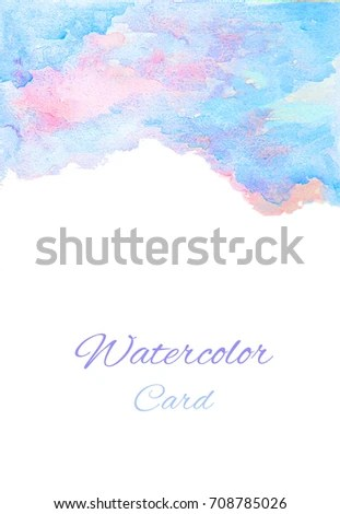 Card Pink Blue Watercolor Layout Template Stock Illustration