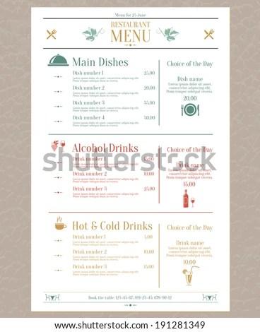Elegant Restaurant Menu List Decorative Elements Stock Vector