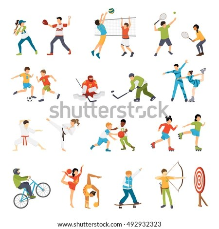 Flat Icons Set Kids Doing Different Stock Vector 492932323