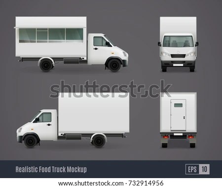 Food Trucks Realistic Ad Template Mockup Stock Vector 732914956