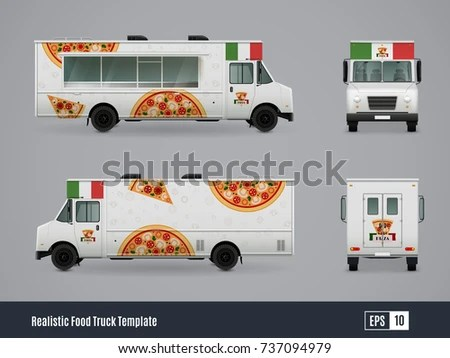 Food Trucks Realistic Ad Template Design Stock Photo (Photo, Vector - car ad template