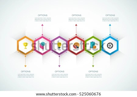Vector Infographics Design Template 3 D Paper Stock Vector 525060676