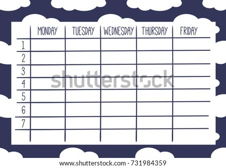 Cute Calendar Weekly Planner Template Cloud Stock Vector 731984359