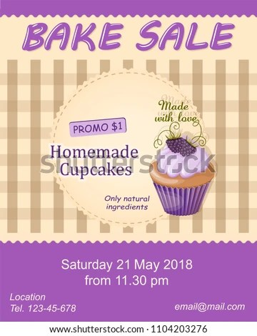 Colorful Flyer Template Bake Sale Promotion Stock Vector 1104203276