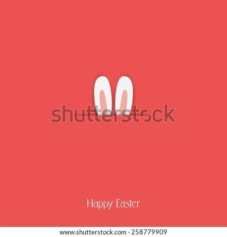Adorable Happy Easter Postcard Template Bunny Stock Vector 258779909