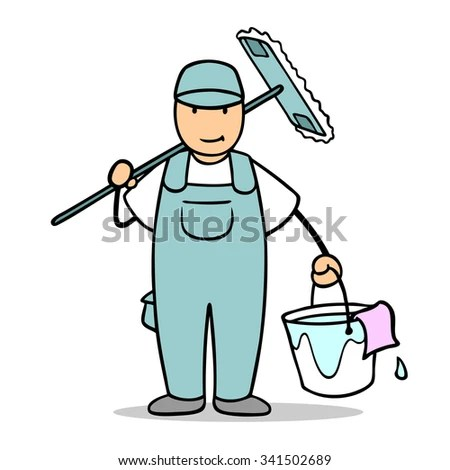 Cartoon Man Cleaner Working Cleaning Service Stock Illustration - pictures cleaning