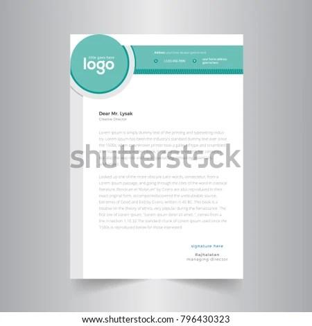 Elegant Green Letterhead Design Template Circle Stock Vector